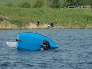 Capsized dinghy